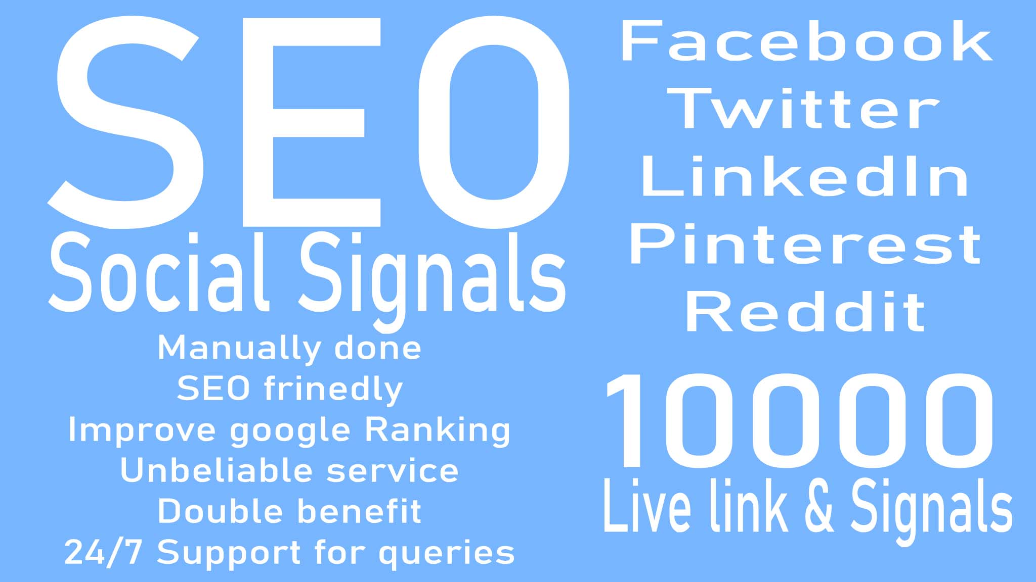 create 10000 Social Signals for your website SEO service for higher google ranking