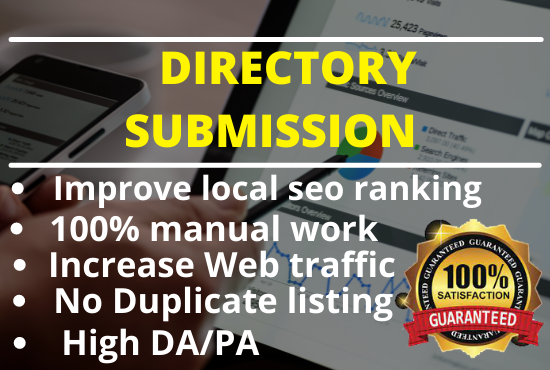 I will give top 100 web directory submissions manually