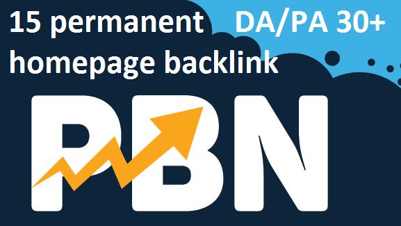 Rank your website 15 permanent Homepage PBN backlink UPTO DA 30+