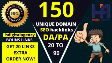 I will Create 150 unique domains SEO backlinks
