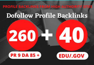 260 Pr9 + 40 Edu/Gov Pr9 High Authority Profile Backlinks-Boost Your Rank On Google