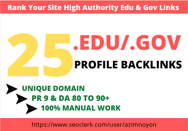 25. edu/. gov profile backlink manually create from high Authority site