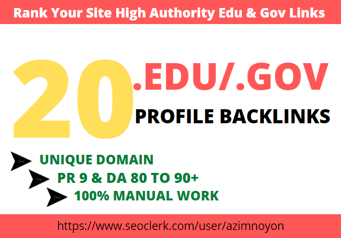 25 .edu/.gov profile backlink manually create from high Authority site