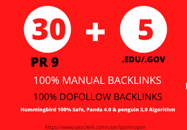 I will manually create 40 Pr9 + 5 Edu/Gov Dofollow DA 90+ profile backlinks