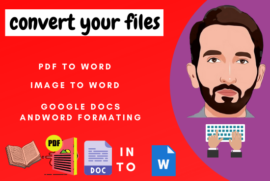 I will convert pdf to word,  scanned images to word and typing