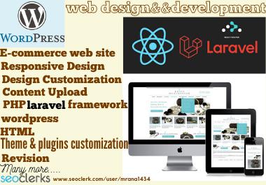 Wordpress, php laravel framework And Website Designer