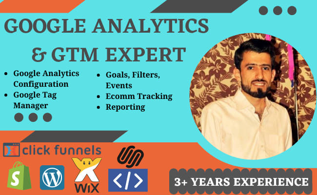 I will setup google analytics and tag manager on any website