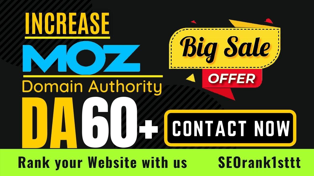 I will increase domain authority MOZ DA 60 plus guaranteed