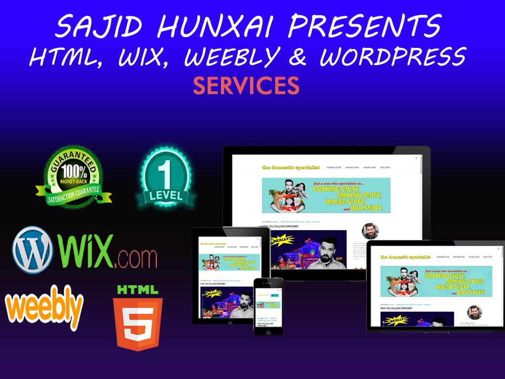 design installation html, wix, wordpress,  joomla sitebuilder