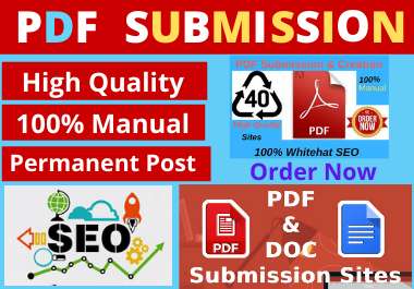24 PDF Submission low spam score high authority permanent backlinks and high quality