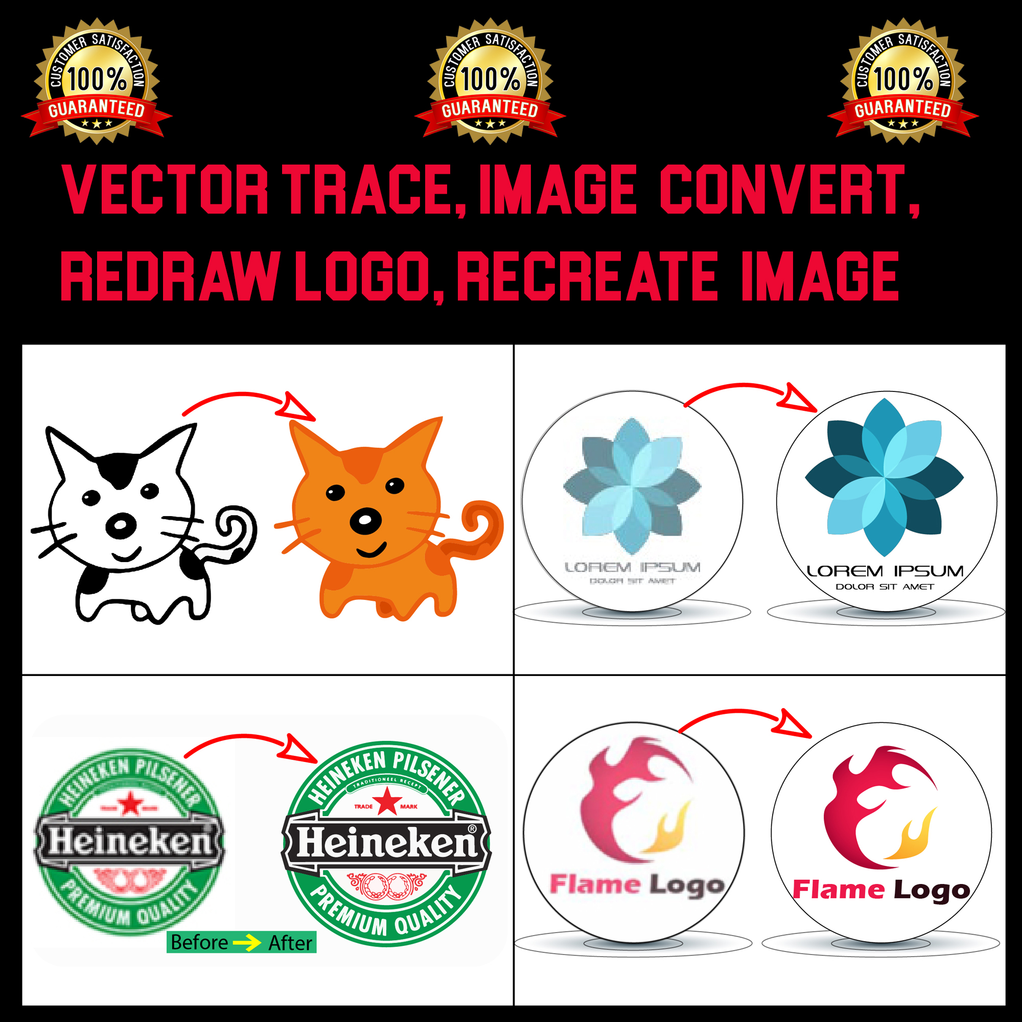 I can perfectly vector tracing, raster to vector, redraw logo or image