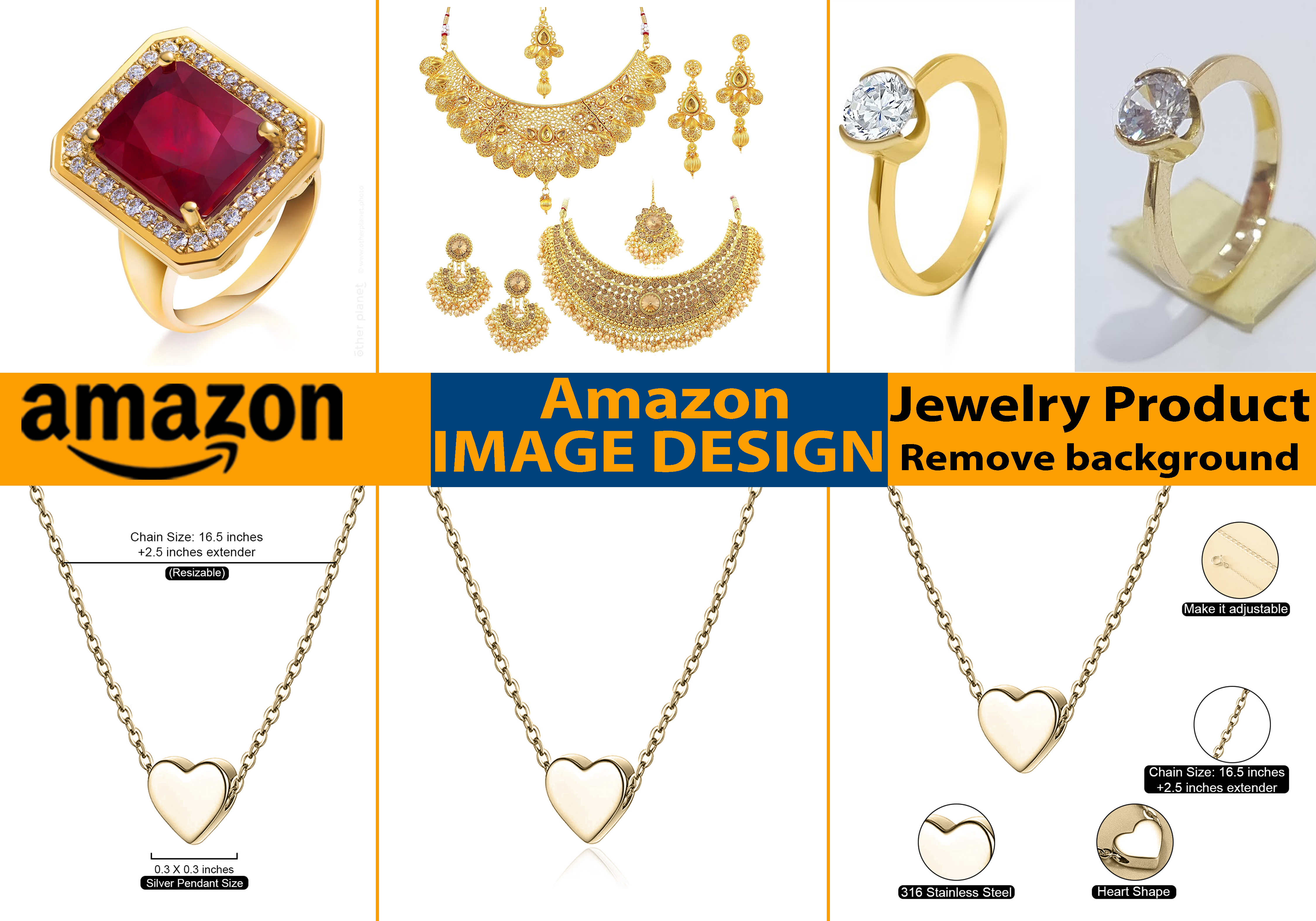 Retouching Jewelry product,  remove background 15 images