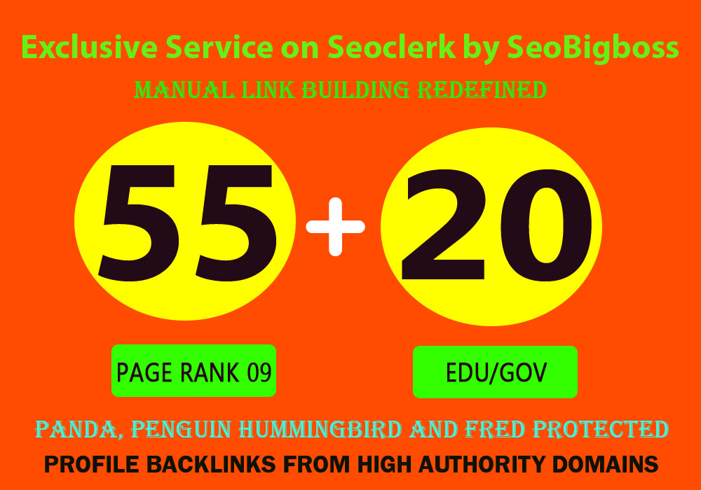 Exclusively Total 75 Backlinks 55 PR-9 + 20 EDU/GOV 80+ DA High Quality website Google Ranking