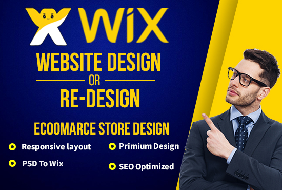 i will design or redesign wix website and wix ecommerce store