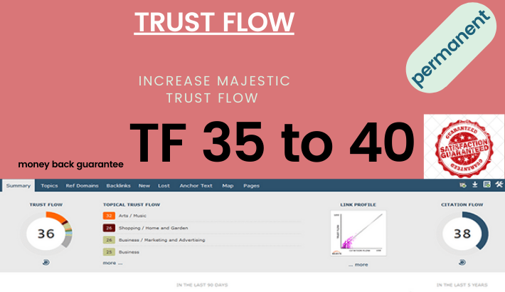 Increase majestic tf30+ with high tf cf dofollow backlinks