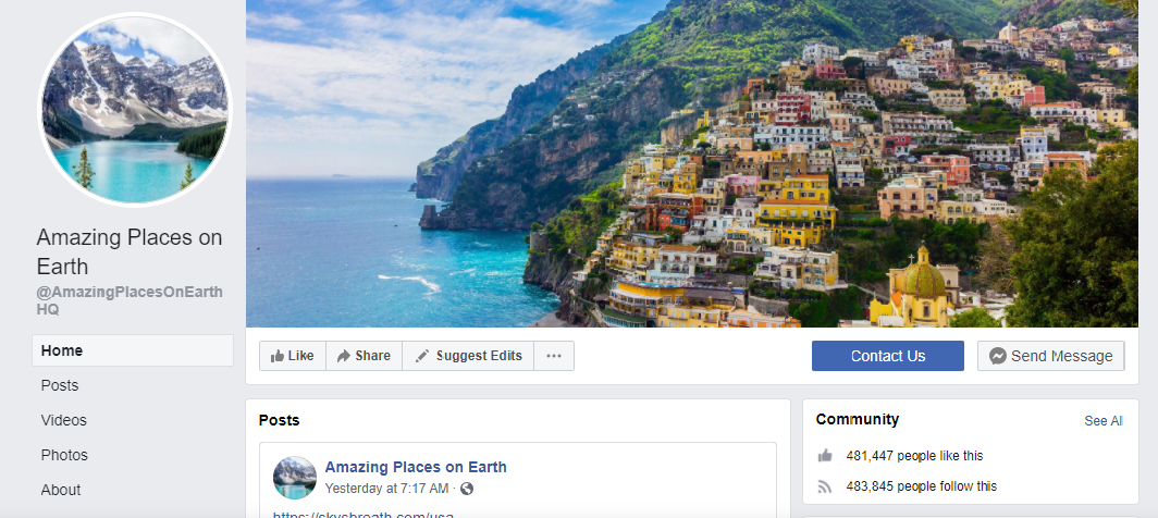Promote AirBnB and travel-related posts on a page with 480K fan base