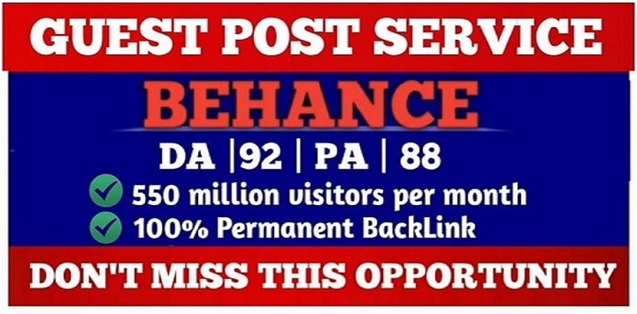 i will Do high da guest blog post on behance DA 92 site