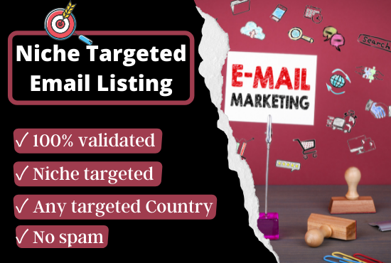 I will provide niche & country targeted unique,  valid & spam free 2,500 email list