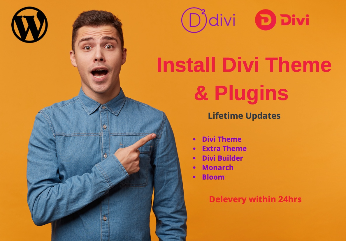 I will install Divi Theme and Plugins for lifetime updates