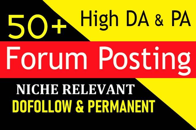 provide high da 50 plus forum posting dofollow backlinks