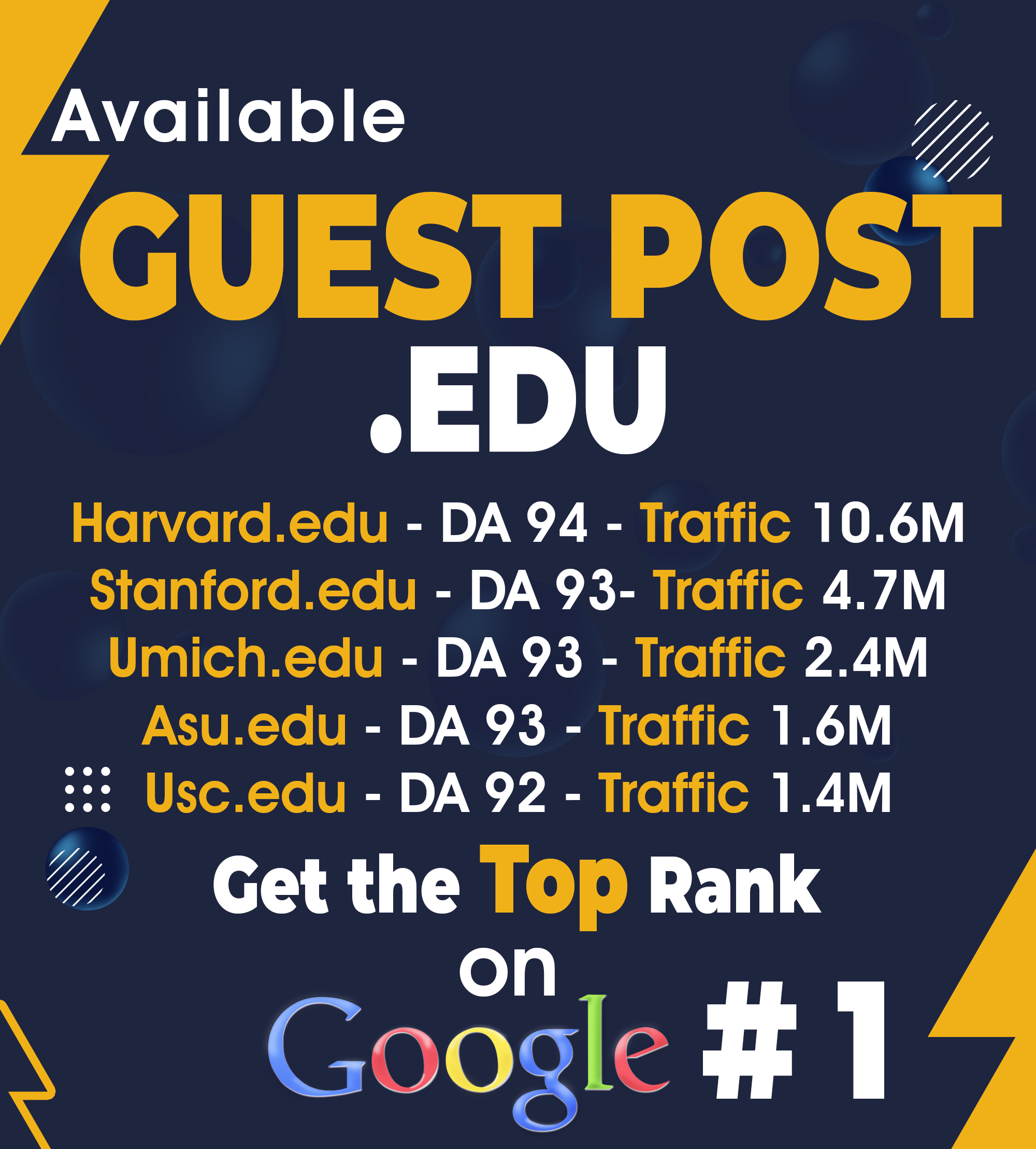 I Will write and publish 5 EDU guest posts da 90 plus with do follow links