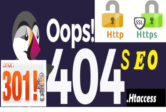 I will fix https, www, redirection htaccess issues, seo, 301