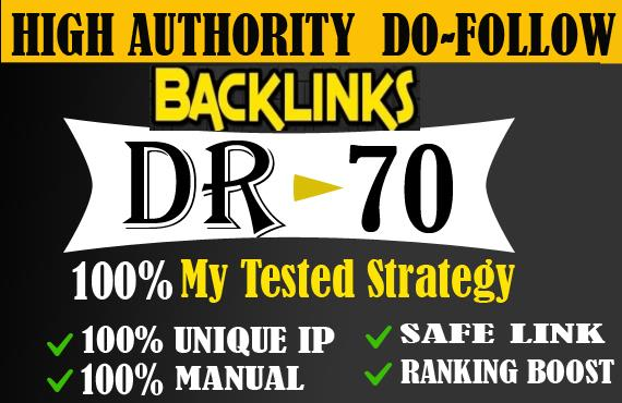 I will provide DA 50 to 70 backlinks off page seo