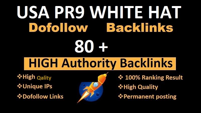 I will provide 80 pr9, edu high authority safe USA White hat do follow seo link building backlinks