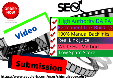 Live 20 Video Submission backlinks high authority permanent dofollow link building