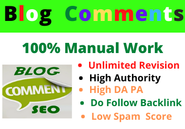 50 Blog High DA Comments High Quality Manual Permanent Backlink