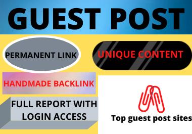 Write and publish 10 Guest Post High Authority website unique content low spam score domain backlink