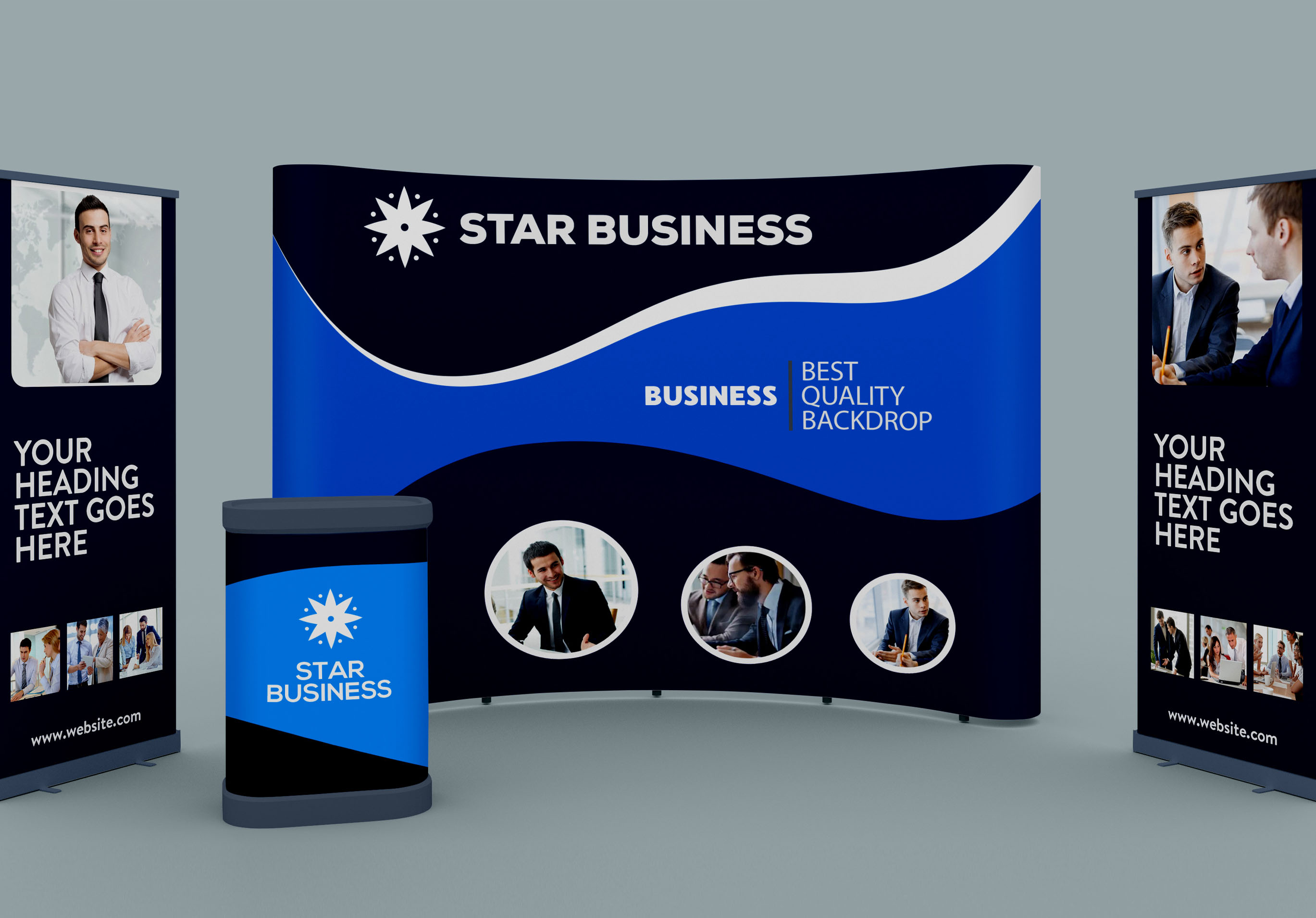 I will design eye catching exhibition backdrop,  rollup banner,  trade show booth and signage design