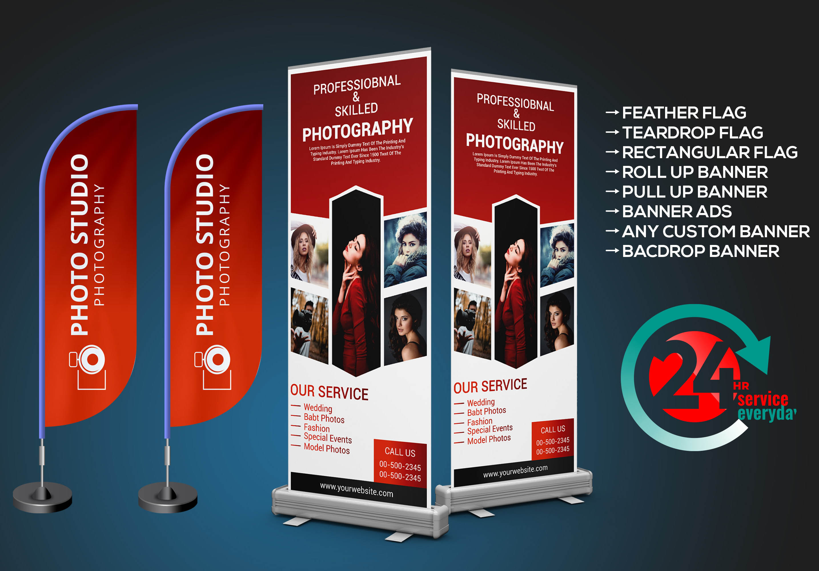 I will design retractable roll up banner, tear drop, feather flag in 4 hours