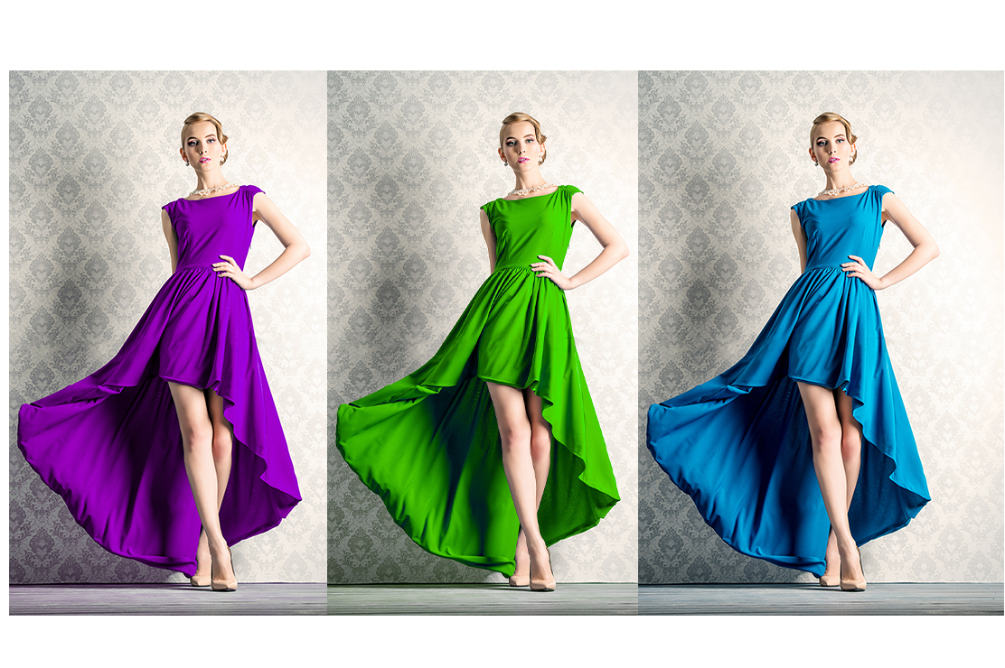I will change the product color,  and color correction,  cloth,  dress within 24 hours