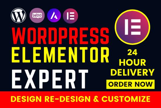 I will be wordpress elementor expert,  create modern website design with elementor pro
