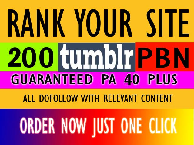 Create rank top on gooogle 200 tumblr pbn backlinks for your website