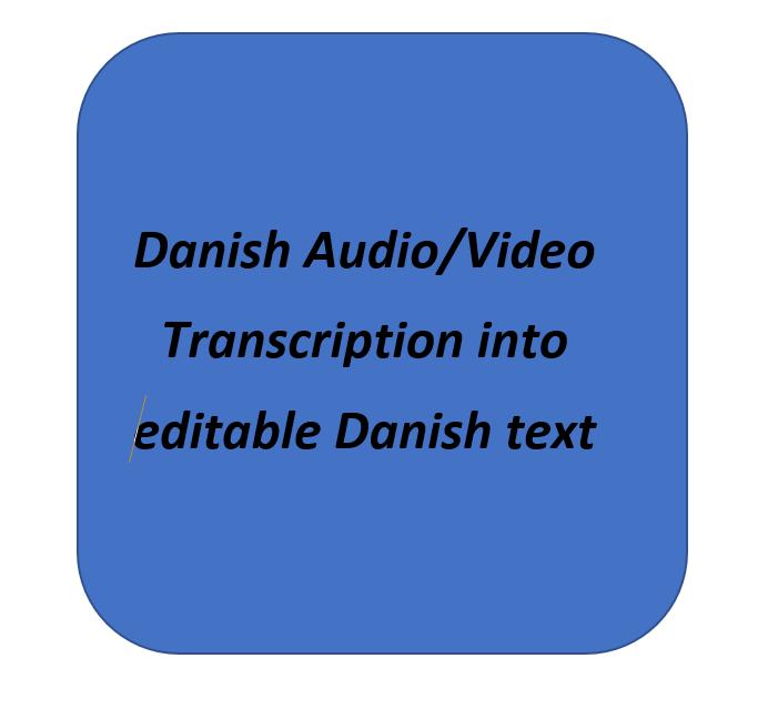 I will transcribe your Danish audio video files into editable Danish text