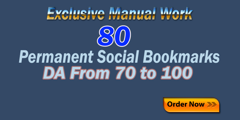 Manually 80 high DA PR Authority Top Social Bookmarks Backlinks to Boost your sites