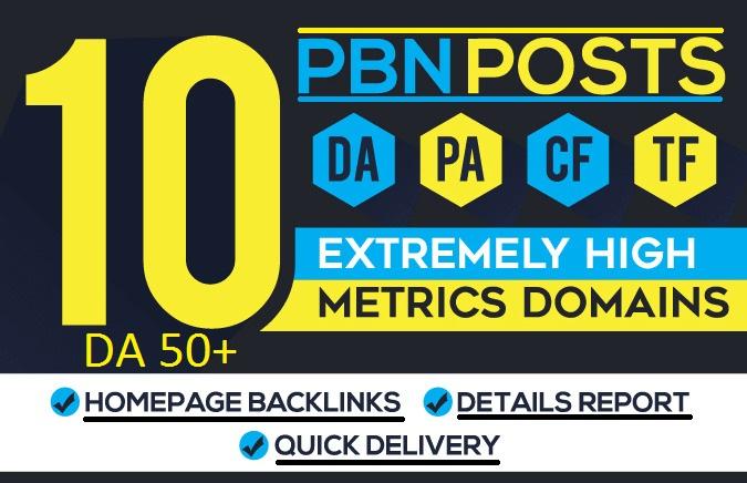 10 high DA 50+plus homepage PBN do follow backlinks