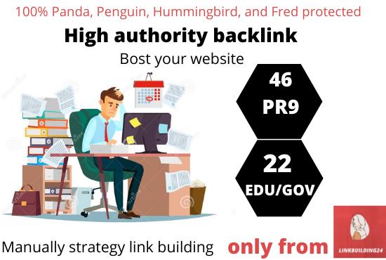 I will boost your google ranking with 46 Pr9 + 22 Edu/Gov seo safe dofollow backlinks