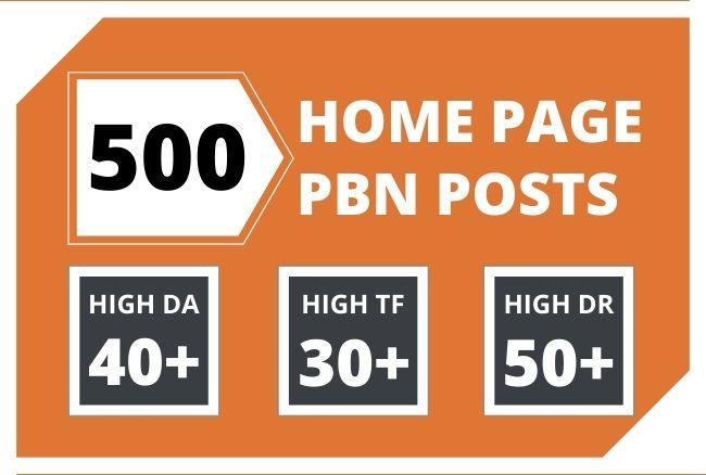 Get 500 Super Powerful DA 40+ Homepage PBN Backlinks