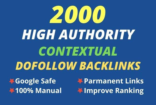 I will provide 2000 high authority Contextual dofollow backlinks
