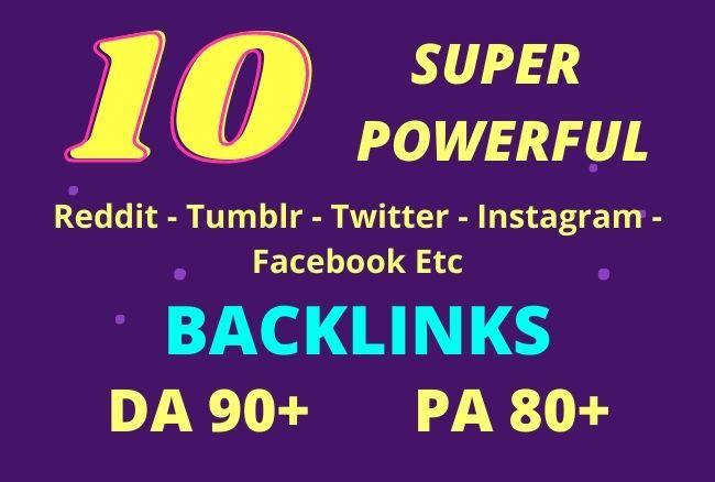 Get 10 SUPERSTRONG Reddit/Tumblr/Twitter/Facebook/Diggo. DA 90+ Backlinks