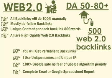 I will manually create high da super web 2 0 backlinks