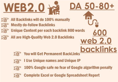 I will manually create 600 high da super web 2 0 backlinks
