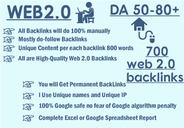 I will create 700 web2 contextual backlinks from high da platforms