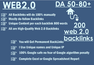 I will create 200 web2 contextual backlinks from high da platforms