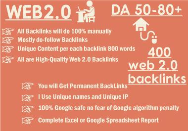 Web2 high-quality dofollow SEO backlinks da 400 plus authority white hat link building