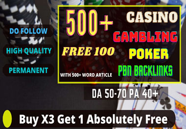 Get 500+ permanent web2.0 Backlinks for Casino,  Gambling,  Poker,  Judi connected Websites