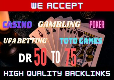 50 prime quality Homepage Backlink Casino,  Poker,  Gambling DA50+ PA 40+ DOFOLLOW